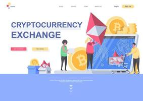 Cryptocurrency exchange flat landing page template vector