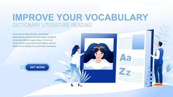 Vocabulary flat landing page with header vector