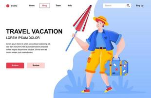 Travel vacation flat landing page composition vector