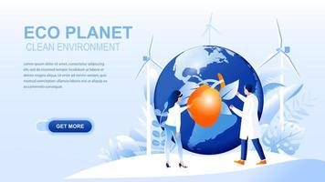 Eco planet flat landing page with header vector