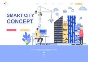 Smart city concept flat landing page template vector