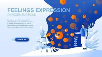 página de destino plana de sentimientos con encabezado vector