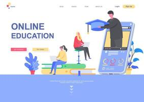 Online education flat landing page template vector