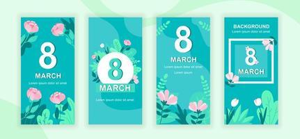 International Womens Day social media story set vector