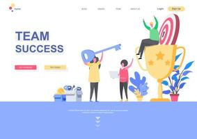 Team success landing page template vector