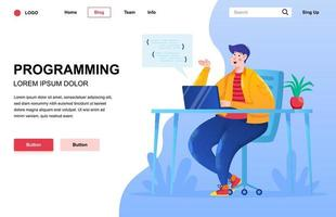 Programming flat landing page composition vector