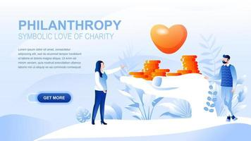 Philanthropy flat landing page with header vector