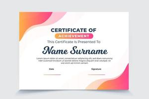 Abstract gradient wave certificate of appreciation template vector