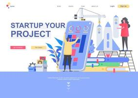 Startup your project flat landing page template vector