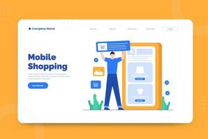 Mobile shopping landing page template vector