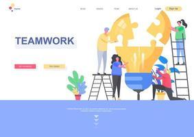 Teamwork landing page template vector