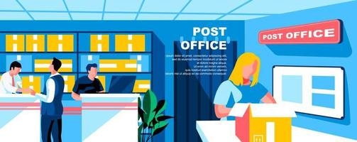 Post office flat landing page template vector