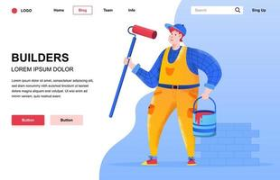 Builders flat landing page composition vector