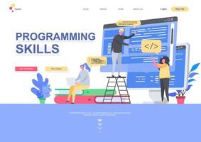 Programming skills flat landing page template vector