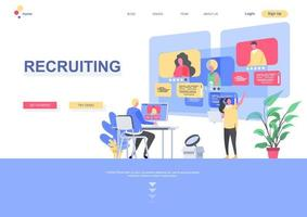 Recruiting flat landing page template vector