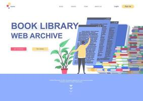 Book library flat landing page template vector