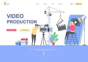 Video production flat landing page template vector