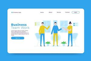 Business team work landing page template vector