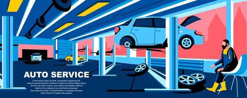 Auto service flat landing page template vector