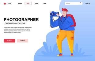 Photographer flat landing page composition vector