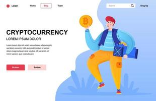 Cryptocurrency flat landing page composition vector