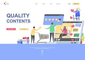 Quality contents flat landing page template vector