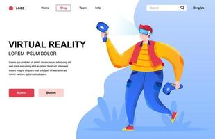 Virtual reality flat landing page composition vector