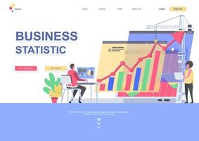 Business statistics landing page template vector