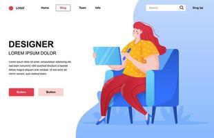 Designer flat landing page composition vector