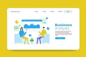 Business analysis landing page template vector