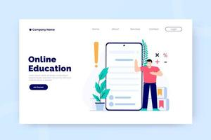 Online education landing page template vector