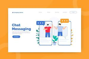 Chat messaging landing page template vector
