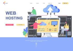 WEB hosting flat landing page template vector