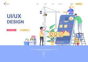 UI UX design flat landing page template vector