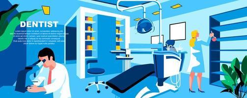 plantilla de página de destino plana de dentista vector