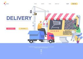 Delivery landing page template vector