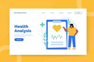 Health analysis landing page template vector