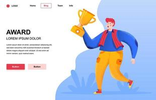 Award flat landing page composition vector