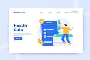 Health data landing page template vector
