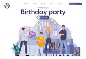 página de inicio de fiesta de cumpleaños con encabezado vector