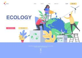 Ecology flat landing page template vector