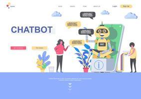 plantilla de página de destino de chatbot vector