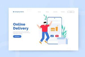 Online delivery landing page template vector