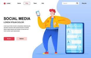 composición plana de la página de destino de las redes sociales vector