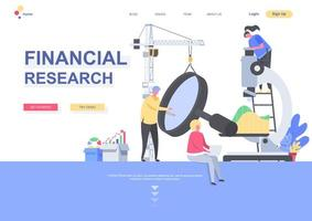 Financial research landing page template vector