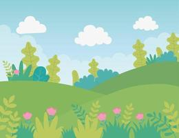 Meadow and mountains landscape background vector
