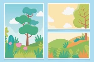conjunto de tarjetas de paisaje