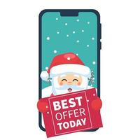 Santa Claus on cellphone with sale poster vector