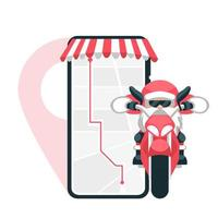 Santa Claus making smartphone delivery on motorcycle vector