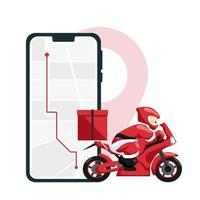 Santa Claus making delivery on motorcycle vector